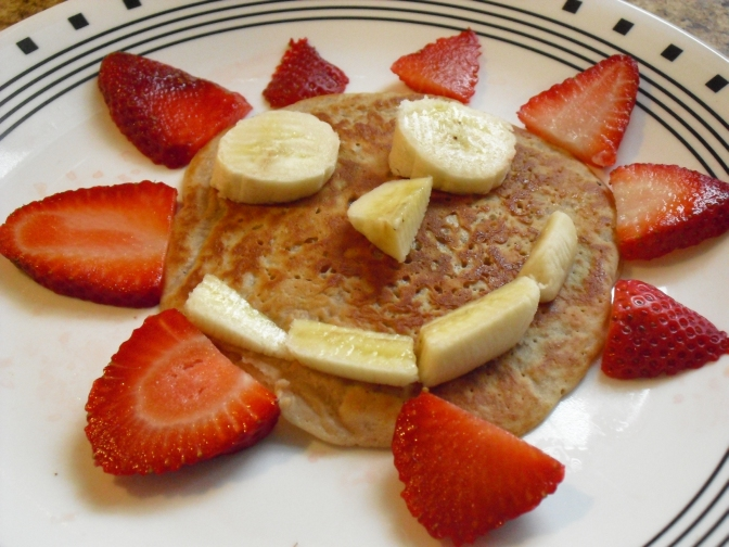 Apple Sauce Pancake Recipe! Topped with fresh fruit!