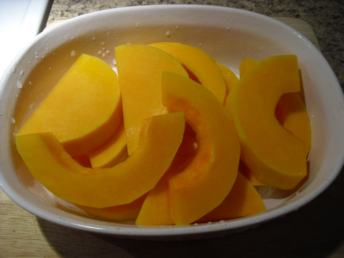 Cut into nice sized slices and add some water to the casserole dish. Pop on the lid.